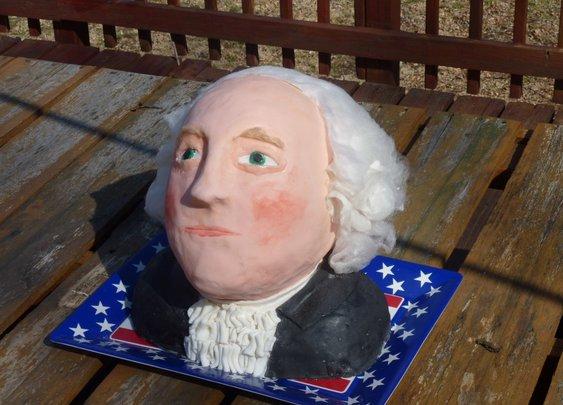 Step by step edible George Washington bust.