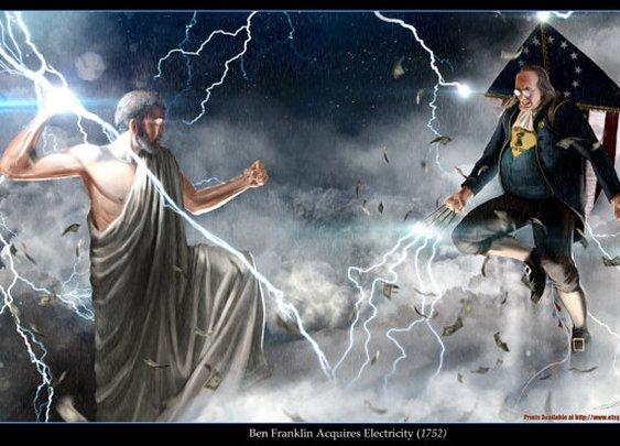 Ben Franklin vs Zeus 24x36 EPIC SIZE Poster Print by sharpwriter