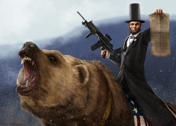 Epic Size Abe Lincoln Riding a Grizzly Limited by sharpwriter