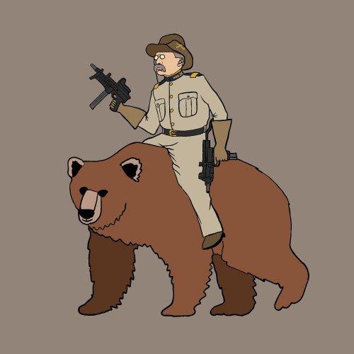 Teddy Rosevelt riding a bear with machine guns!