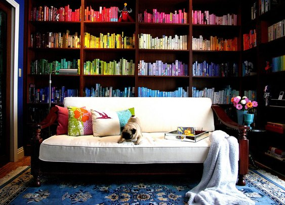 Color-Coded Home Library.