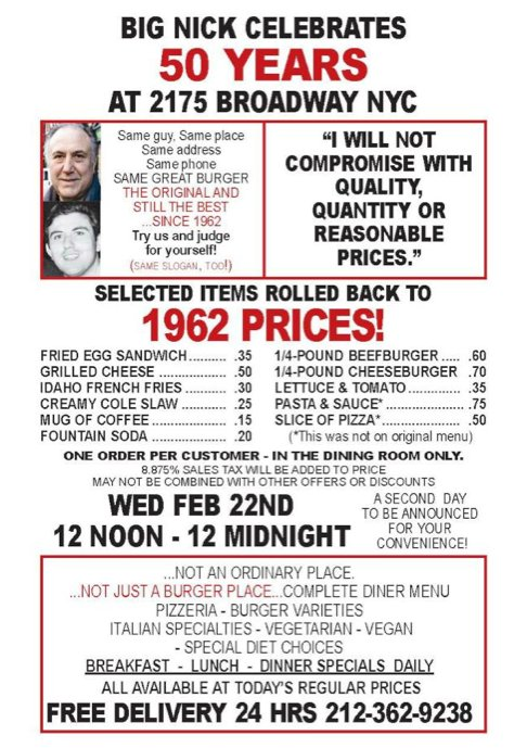 West Side Rag  » BIG NICK'S OFFERS 1962 PRICES FOR 50TH ANNIVERSARY CELEBRATION; 60-CENT BURGERS!