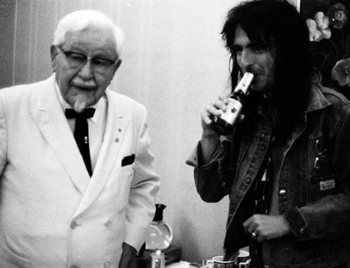 Colonel Sanders and Alice Cooper together.