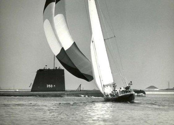 Sailboat and submarine