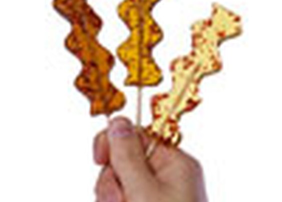 Bacon Lollipops: Hard candy lollipops infused with bits of bacon.