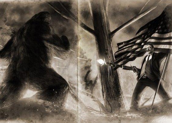 Teddy Roosevelt VS Bigfoot Old Photo Variant HQ by sharpwriter