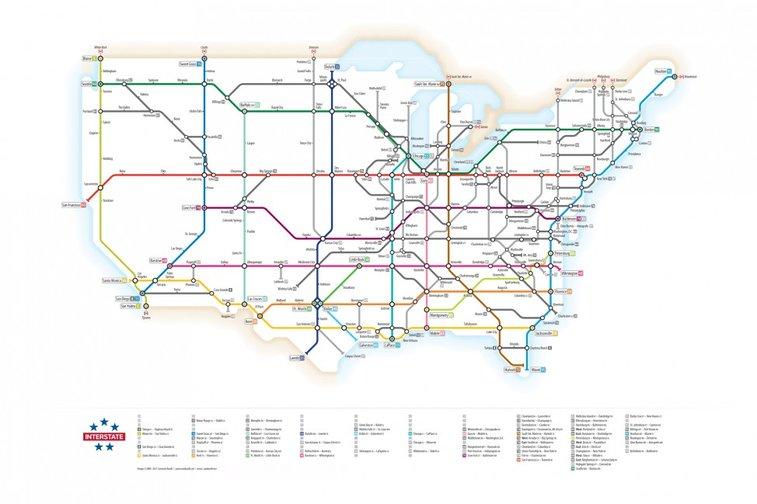 U.S. Interstates as a Subway Map | Visual.ly