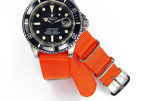 Rolex Studio Shot Of The Day: Raul's Submariner on an Orange NATO Strap Reference 1680
