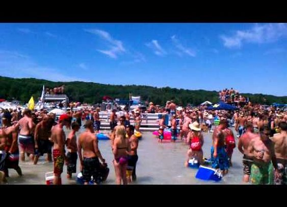 "Torch Lake Sandbar ""Most fun you can have in swim trunks"""