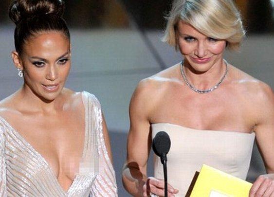 J. Lo wardrobe malfunction at the Oscars