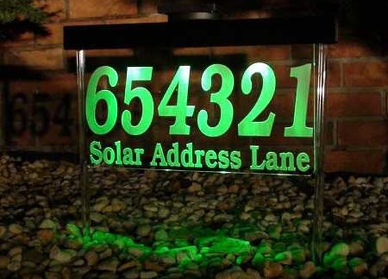 Solar powered address sign. Attracts people and maybe aliens.