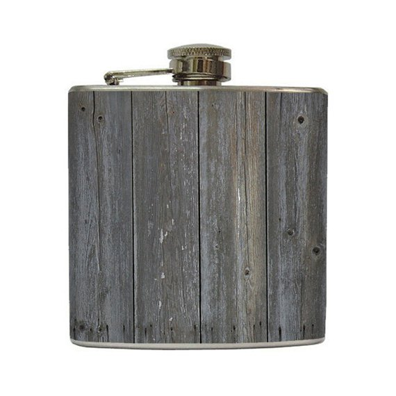 Old Grey Barn Wood Liquor Hip Flask Gray Planks by LiquidCourage
