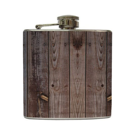 Brown Old Barn Wood Whiskey Flask