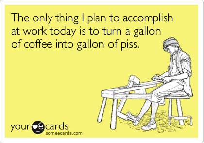 The only thing I plan to accomplish at work today is to turn a gallon of coffee into gallon of piss.   Workplace Ecard   someecards.com