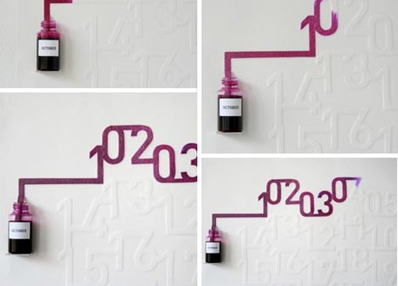 Ink + Capillary Action = Dynamic Wall Calendar Design