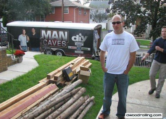 Wood Railing on Man Caves