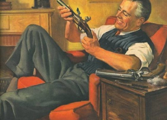 Celebrating the wartime pleasure of getting loaded and cleaning your guns