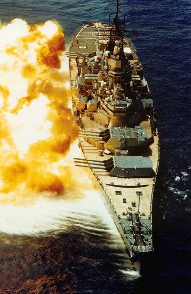 USS Iowa Firing her Guns...
