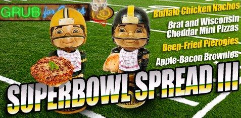 Super Bowl Spread III, Super Bowl party food, Buffalo Chicken Nachos, Brat and Wisconsin Cheddar Pizza