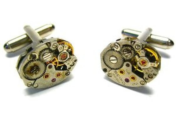 Steampunk Watch Mechanism Gear Movement Cufflinks w/Gift Box