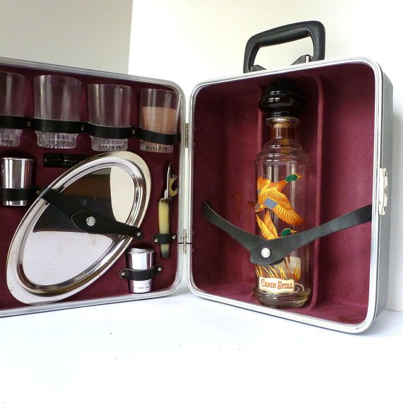 Travel bar Suitcase by Travel Bar Circa 1960 with by LaBrocanterie