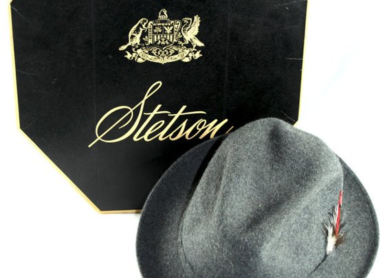 1950s Grey Playboy Stetson with Red White Black by StylishBird