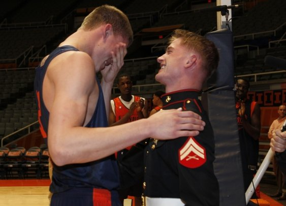 Illinois basketball Meyers Leonard getting surprised by his military brother coming home early. - Imgur