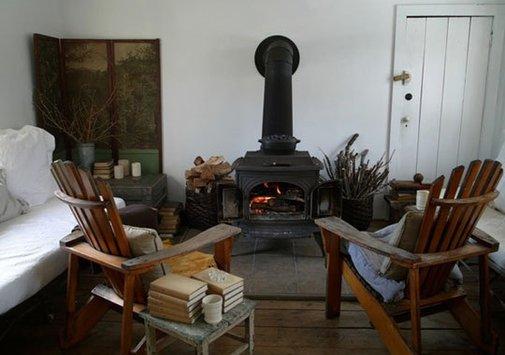 Wood Stove + Adirondack Chairs