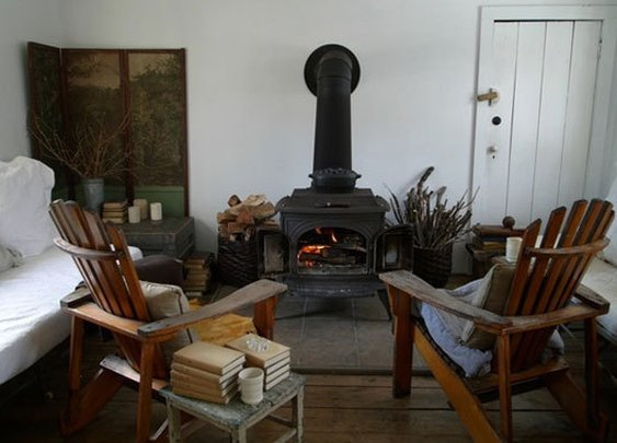 Wood Stove + Adirondack Chairs
