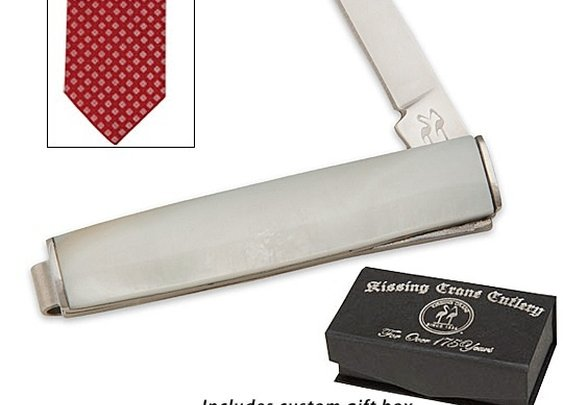 Tie / Money Clip Folding Knife w/ Faux Pearl Face