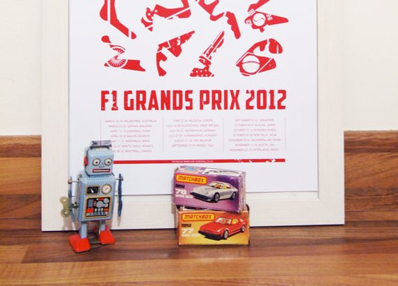 F1 2012 Poster Large Calendar Of All Races