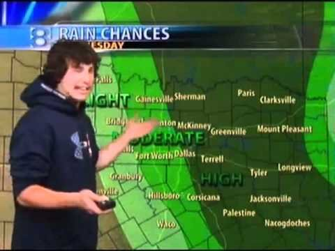 Texas Rangers Derek Holland does the weather.
