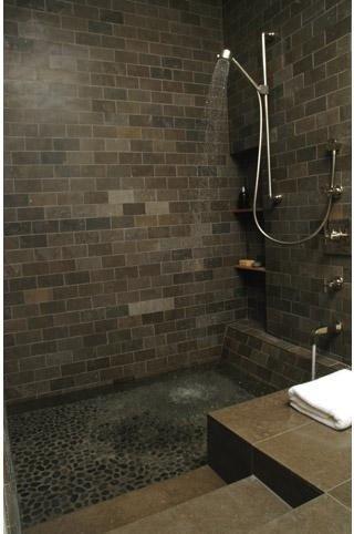 not just a shower...open shower + sunken tub