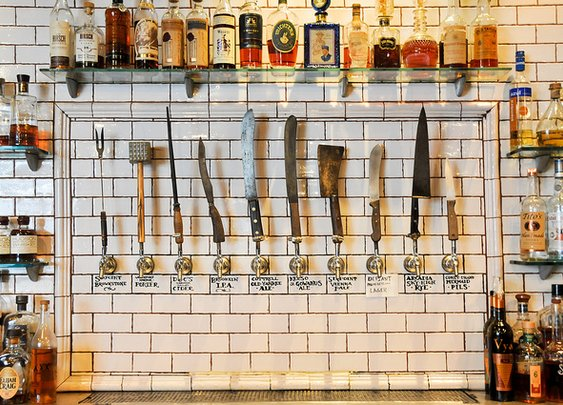 Knives as Beer Taps. Genius & Deady.