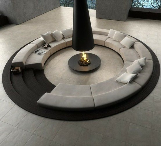 conversation pit with fireplace