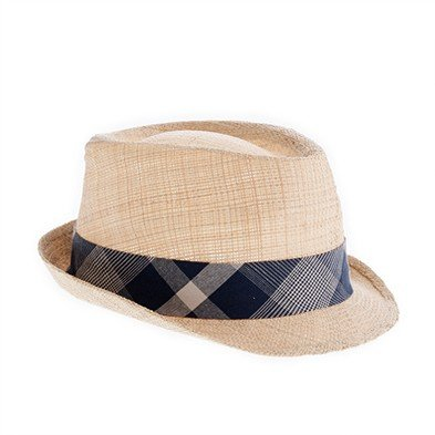 Straw plaid trilby hat