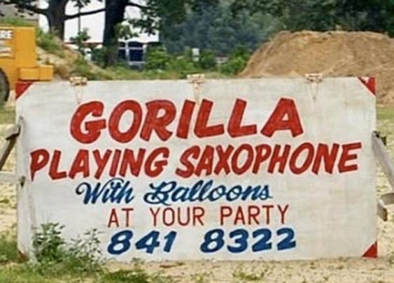 Sax-playing gorilla at your party