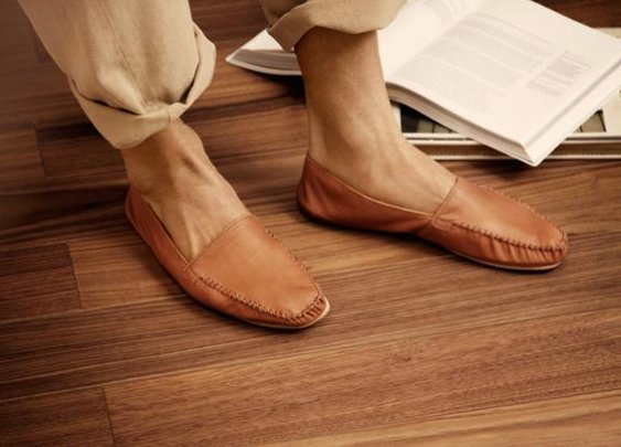 Handmade leather house slippers.