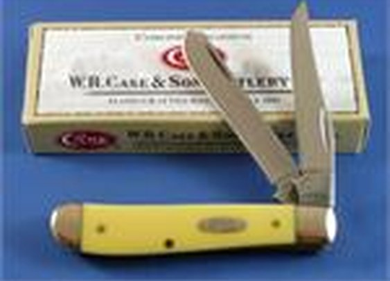 Case XX 3207 Mini Trapper Knife Yellow - Carbon 029
