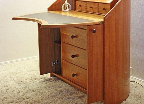 Danish Teak Ansager Mobler Bent Wood Desk RARE Modern