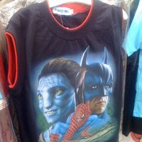 Sleeveless (and reversible?) airbrushed Avatar/Batman/Spider-man T-shirt