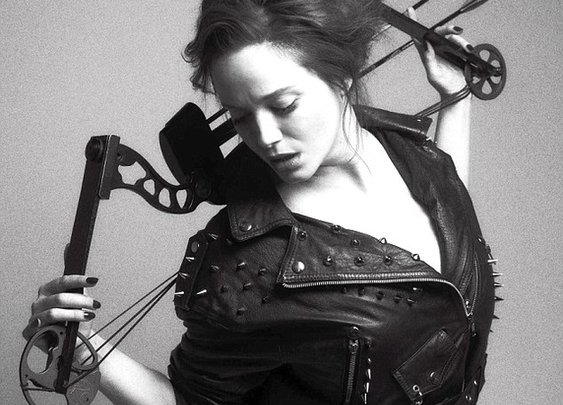 Christina Hendricks Dressed In Leather, Posing With Weapons