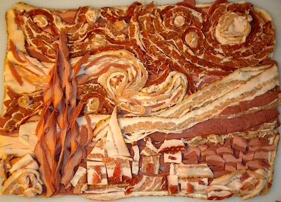 Van Gogh's The Starry Nightrendered in bacon.