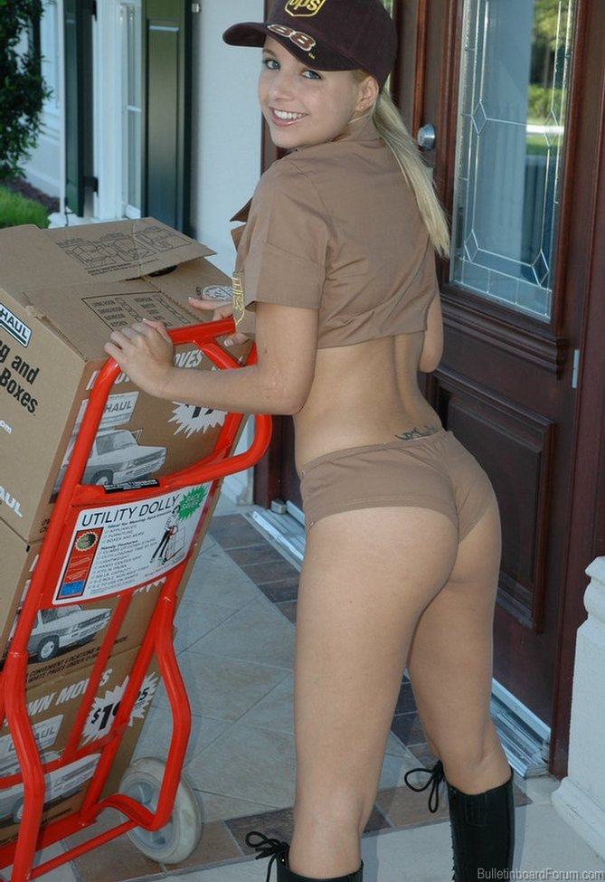 Hot pizza delivery girl