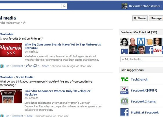 Facebook Interest Lists Lets Users Personalize News Feed
