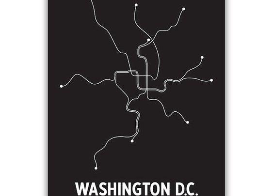 Washington DC Lineposter  Black/White
