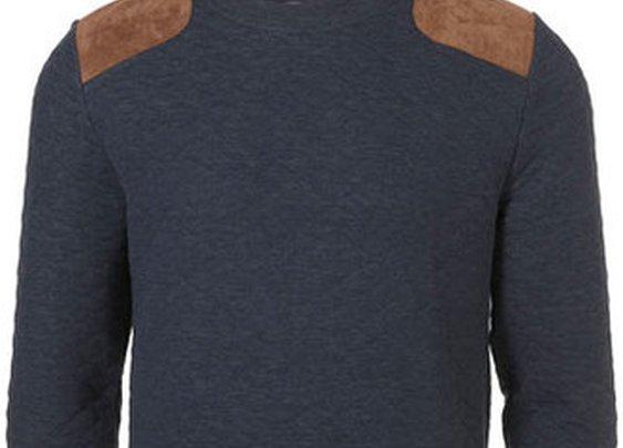 Indigo Quilted Suede Patch Sweatshirt  ($20-50) - Svpply