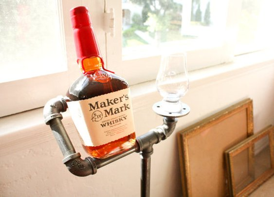 Industrial Whiskey Holder with Whiskey Glass by DirtyBils on Etsy