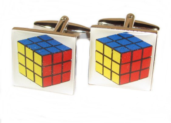 rubix cube cuff links for the 80's feel!