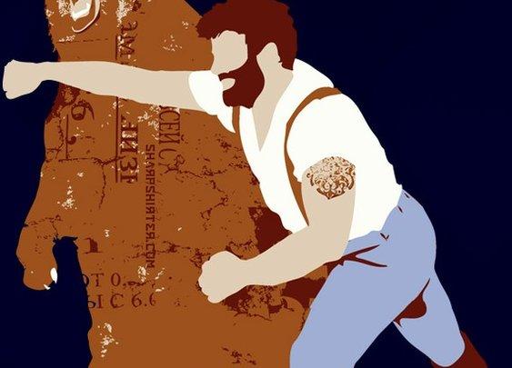 Man Punching Bear Men's 2XL T-Shirt by Sharpshirter on Etsy